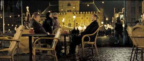 Three of our stars meet before the bloody finale: Brendan Gleeson, Ralph Finnes and the Bruges bell tower.