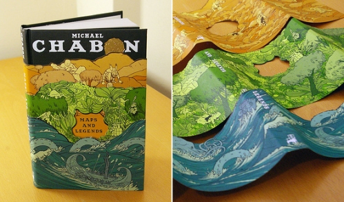 "Take THAT, Amazon Kindle! Forget e-books, the hardback version of ""Maps and Legends"" is the only one to own. Look at those three layers of die-cut, richly illustrated jackets! Swoon! (Book design by Jordan Crane)"