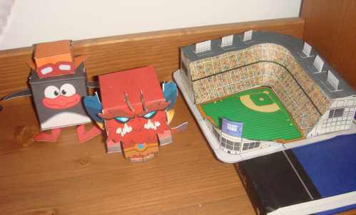 Note Second Son's beloved Wrigley Field (pattern courtesy papertoys.com)