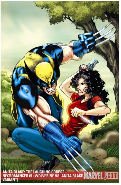 Who taught Wolverine how to punch? Or is he trying to hit someone on the other side of Anita?