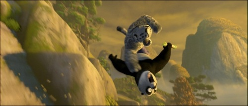 "Yes, the panda actually sits on the leopard's face, qualifying for what would normally be an Inexcusable Butt Joke; HOWEVER, this butt joke actually fits its context and fulfills a pretty good joke set-up: ""What are you gonna do, Big Guy, sit on me?"""