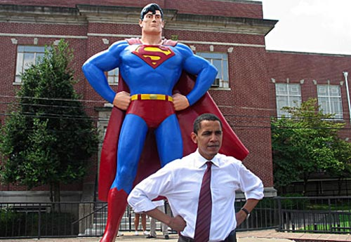 Does DC own this pose? Or does Barack owe Jerry Siegel a quarter?