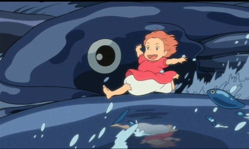 "Captions don't count: You don't really watch a Miyazaki film for plot. Invariably, the Japanese director of ""Spirited Away"" and ""My Neighbor Totoro"" delivers films of visual richness and inventiveness with an uncanny understanding of the wonderment of children. In this regard, ""Ponyo"" is no different. Its layered 2D animation luxuriates in the details of a bobbing, bubbly undersea world, making more marvel out of hand-painted cels than a host of Hollywood rendering computers ever could. It is, in every way, like watching a dream. The plot, however, makes not an ounce of sense. It involves a sea wizard's well of wizardy hoodoo, vampiric healing magic, a localized tsunami, a moon on the move, and the inexplicable requirement to have two 5-year-olds commit to a long-term relationship in order to, uh, save the world. Somehow. (Because when your plot relies on magic, you can make any rules you want and no one can question you. A great ""Simpsons"" episode taught us to hand-wave away the plot illogic of fantasy stories by saying, ""A wizard did it."" And in Ponyo, the entire plot is one big ""A wizard did it."") But you watch a film by Hayao Miyazaki for the power of its visuals, both big (a girl racing across the tops of magical, living waves to a stirring Wagnerian score) and small (the spreading movement water makes when you leave a wet footprint on pavement). If that's what you go in expecting, you'll be well rewarded."