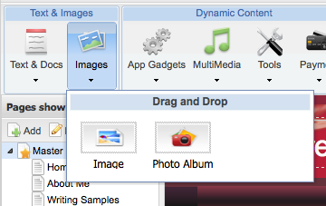 """Note that you click the """"Image"""" or """"Text"""" buttons once to call up the submenu; drag an image or a textbox from this submenu."""