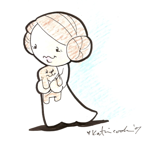 Where'd she get that Chewie Beanie Baby? Aw, Leia, you're too cute.